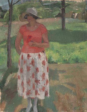 Femme debout dans un paysage