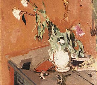 Nature morte sur fond brique au vase blanc