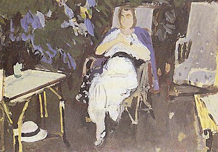 Madame Eugène Morand dans son jardin
