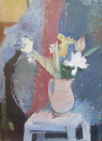 Nature morte au vase de fleurs et tabouret