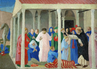 Copie d'une prédelle du couronnement de la Vierge d'après Fra Angelico