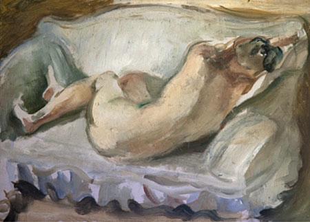 Nu couché de dos sur fond blanc