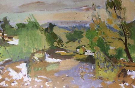 Paysage en Normandie, ou les vignes à la Mothe