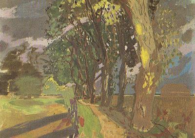 L'allée bordée d'arbres