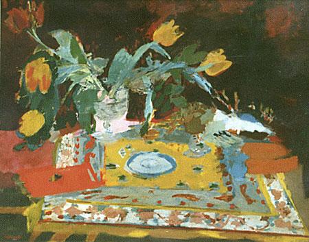 La table de bridge et les tulipes jaunes