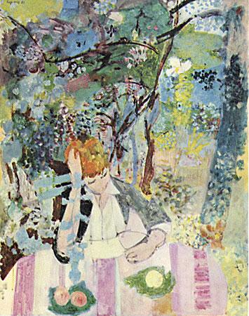 La liseuse dans le jardin de Cavaillès à Vaux