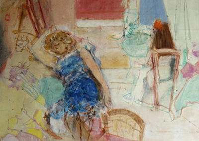 Émilienne en robe bleue et Anne de dos