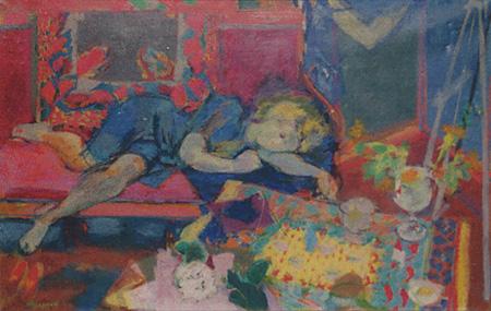 La femme au canapé rouge