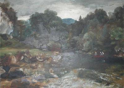 Paysage de rivière avec barque