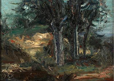 Paysage: deux arbres