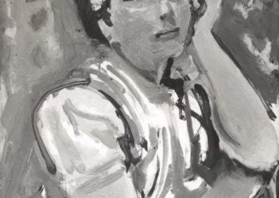 Jeune femme au corsage rose